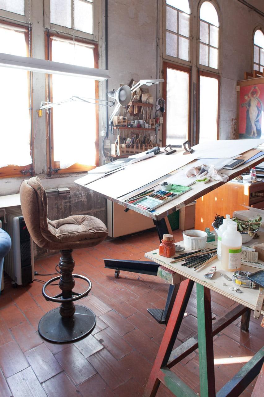 Estudio pintor Francesc Artigau silla