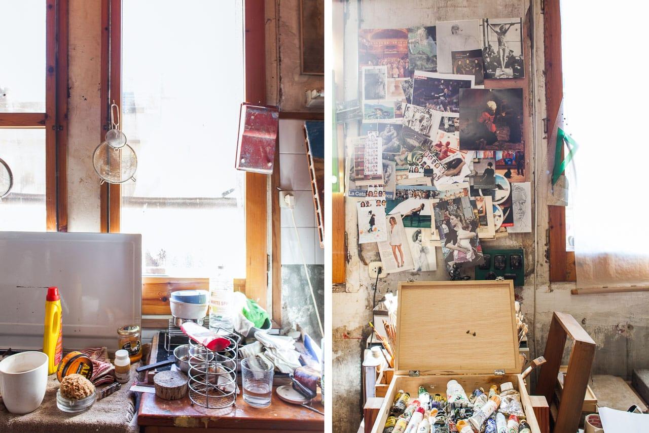 Estudio pintor Francesc Artigau detalle ventana y colores