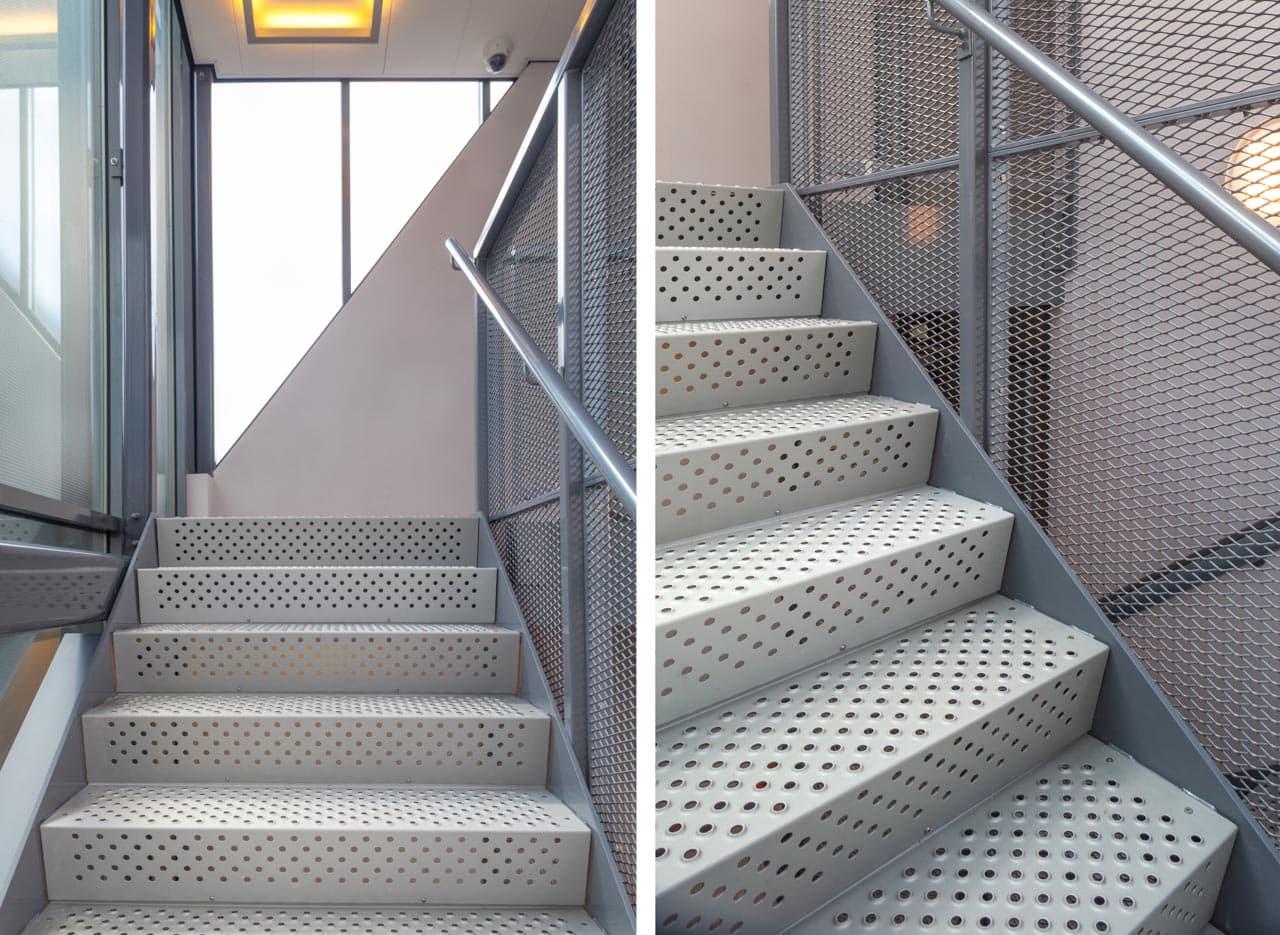 detalles escaleras de emergencia