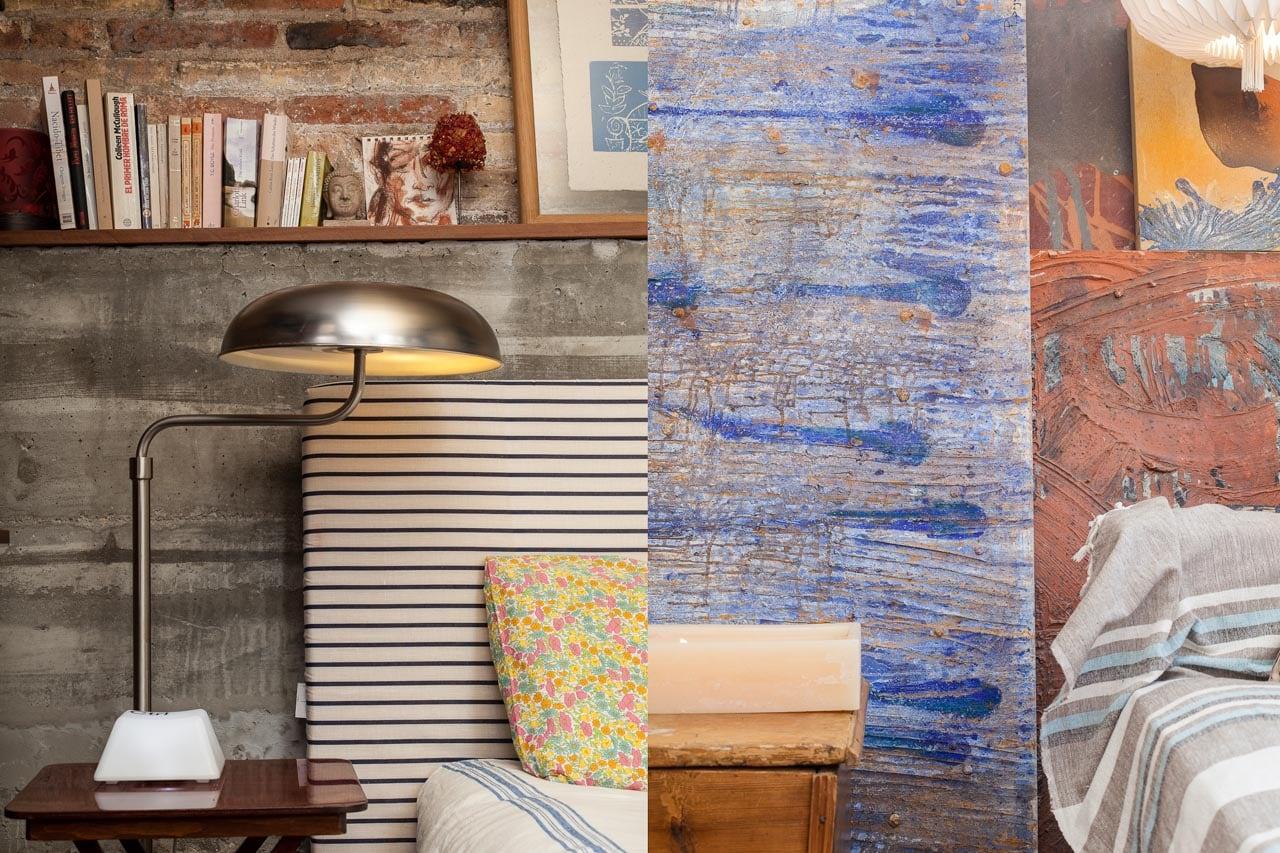 interior decoración textil y cuadros